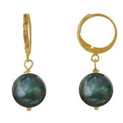 Boucles d'Oreilles Mini Créoles Plaqué Or et Perle de Séraphinite - Les Poulettes Bijoux - Modalova