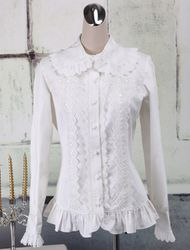 Milanoo Toussaint Cospaly Costume Lolita Blouse manches longues volants dentelle garniture Turn-down col en coton avec dentelle Déguisements Halloween - milanoo.com - Modalova