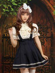 Milanoo Bleu marine coton Lolita jupe Salopette Beige rayure Déguisements Halloween - milanoo.com - Modalova