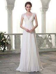 Milanoo Robe de mariée blanche en chiffon col V dos transparent décoré des pailletes zip sur dos longueur au sol robe de mariage - milanoo.com - Modalova