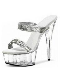 Milanoo Chaussures sexy s plateforme noire à bout ouvert strass 2021 Sandales talons hauts - milanoo.com - Modalova