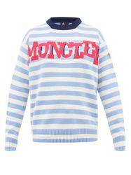 Pull rayé en laine mélangée à jacquard logo - Moncler Grenoble - Modalova