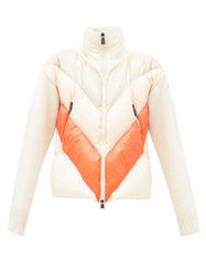 Veste matelassée en duvet à manches en maille - Moncler Grenoble - Modalova