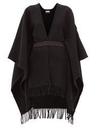 Poncho en laine ceinturé à empiècement logo - Moncler - Modalova