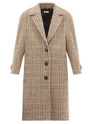 Manteau boutonné en tweed de laine à carreaux - Miu Miu - Modalova