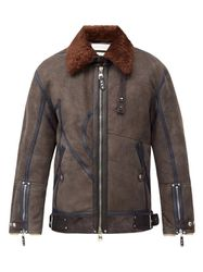 Veste en shearling à finitions en cuir - Alexander McQueen - Modalova