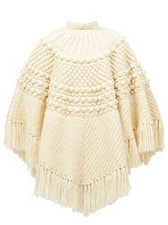 Poncho en laine à franges - Saint Laurent - Modalova