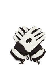 Gants en cuir et tissu imperméable à logo - 3 MONCLER GRENOBLE - Modalova