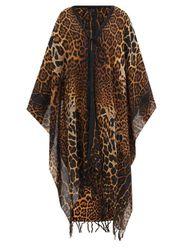 Poncho en laine à imprimé léopard - Saint Laurent - Modalova