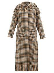 Manteau en laine mélangée à carreaux et capuche - Sara Lanzi - Modalova
