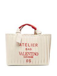 Cabas en cuir et toile à imprimé logo Atelier 05 - Valentino Garavani - Modalova