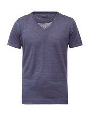 Lino - T-shirt en jersey de lin à col en V - 120 Lino - Modalova