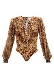 Body en soie à col en V et imprimé léopard - Camilla - Modalova