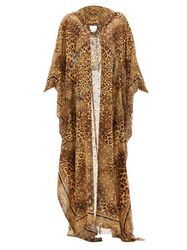 Caftan en soie mélangée à capuche et motif léopard - Camilla - Modalova