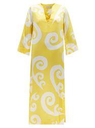 Robe tunique en satin de soie à imprimé paon - THEMIS Z - Modalova