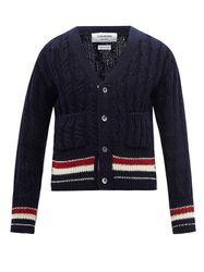 Cardigan en laine mélangée à rayures tricolores - Thom Browne - Modalova