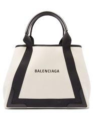 Sac en toile et cuir à imprimé logo Cabas - Balenciaga - Modalova