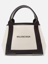Sac en toile et cuir à imprimé logo Cabas S - Balenciaga - Modalova