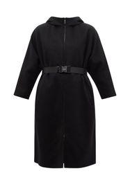 Manteau zippé en laine et Re-Nylon ceinturé - Prada - Modalova