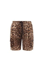 Short cargo en coton à imprimé léopard - Dolce & Gabbana - Modalova