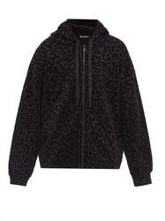 Sweat-shirt oversize zippé à capuche et léopard - Dolce & Gabbana - Modalova