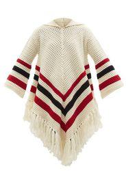 Poncho à capuche en laine à houppes - REDValentino - Modalova