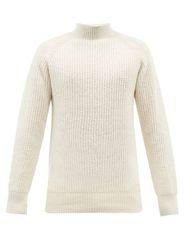 Pull col montant en laine côtelée - YMC - Modalova
