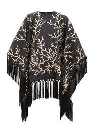 Robe poncho en jacquard à franges Coralito - Taller Marmo - Modalova