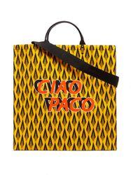 Cabas en cuir et toile à imprimé logo Ciao Paco - Paco Rabanne - Modalova