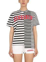 Asymmetric t-shirt with stripe pattern - dsquared - Modalova