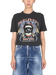 Printed renny fit t-shirt with - dsquared - Modalova