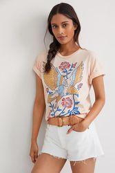 T-shirt à motif graphique fleurs et oiseau - Midnight Rider - Modalova