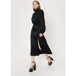 Animal Jacquard Satin High Neck Midi Dress - Nasty Gal - Modalova
