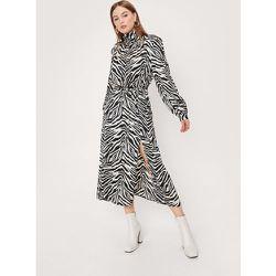 Zebra Print Satin High Neck Midi Dress - Nasty Gal - Modalova