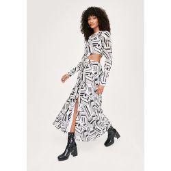 Abstract Print Cut Out Midi Shirt Dress - Nasty Gal - Modalova