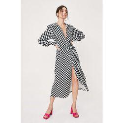 Checkerboard Tie Front Midi Shirt Dress - Nasty Gal - Modalova