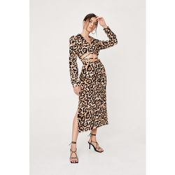 Leopard Strappy Cut Out Midi Shirt Dress - Nasty Gal - Modalova