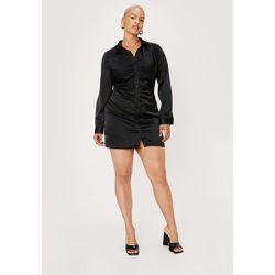 Plus Size Satin Rouche Mini Dress - Nasty Gal - Modalova