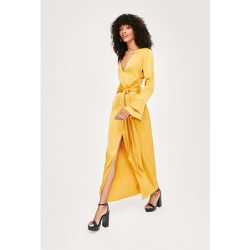 Satin Tie Front Bell Sleeve Midi Tea Dress - Nasty Gal - Modalova