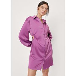 Satin Cut Out Mini Shirt Dress - Nasty Gal - Modalova