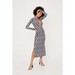 Wave Print Cut Out Plunge Midi Dress - Nasty Gal - Modalova