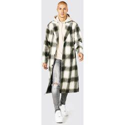 Manteau long droit à carreaux - Boohooman - Modalova
