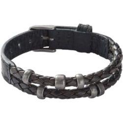 Bracelet wrap en cuir tressé - Fossil - Modalova
