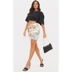 Mini jupe tie & dye satinée à taille nouée et derrière froncé - PrettyLittleThing - Modalova