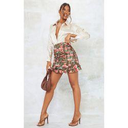 Mini jupe satinée imprimé fleuri froncée à volants - PrettyLittleThing - Modalova