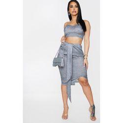 Shape - Jupe mi-longue froncée gris à paillettes et drapé - PrettyLittleThing - Modalova