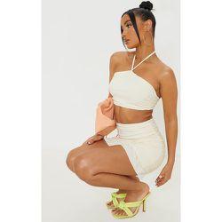 Mini-jupe slinky à ourlet volanté et côté froncé - PrettyLittleThing - Modalova