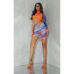 Mini-jupe rayée à mesh superposé et côté froncé - PrettyLittleThing - Modalova