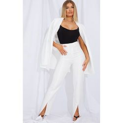 Pantalon droit en maille blanche à ourlets fendus - PrettyLittleThing - Modalova
