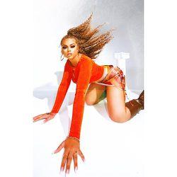 Mini-jupe en mesh rayé à nouer sur le côté - PrettyLittleThing - Modalova